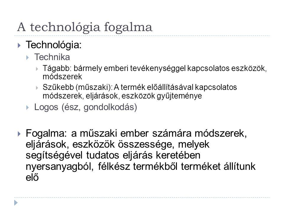 A technológia fogalma  Technológia:  Technika  Tágabb: bármely emberi tevékenységgel kapcsolatos eszközök, módszerek  Szűkebb (műszaki): A termék