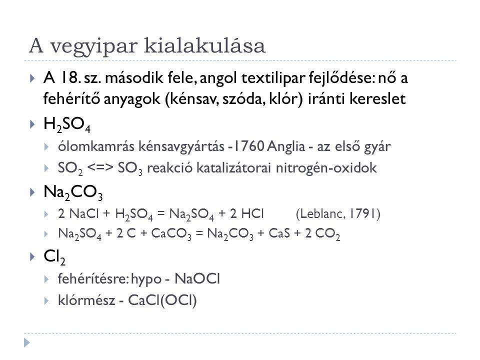 A vegyipar kialakulása  A 18. sz. második fele, angol textilipar fejlődése: nő a fehérítő anyagok (kénsav, szóda, klór) iránti kereslet  H 2 SO 4 