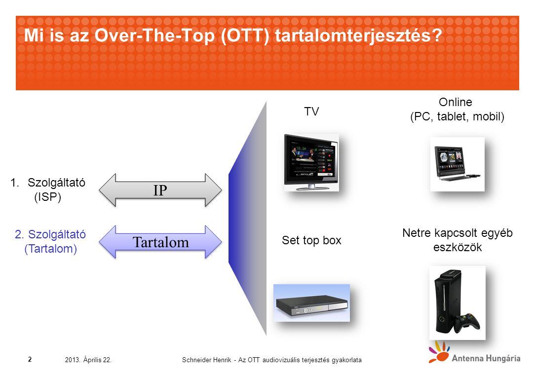 Netre kapcsolt egyéb eszközök Mi is az Over-The-Top (OTT) tartalomterjesztés.