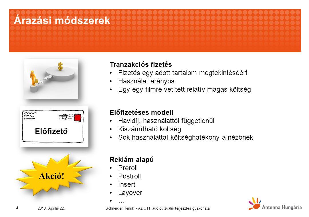 Árazási módszerek Schneider Henrik - Az OTT audiovizuális terjesztés gyakorlata2013.