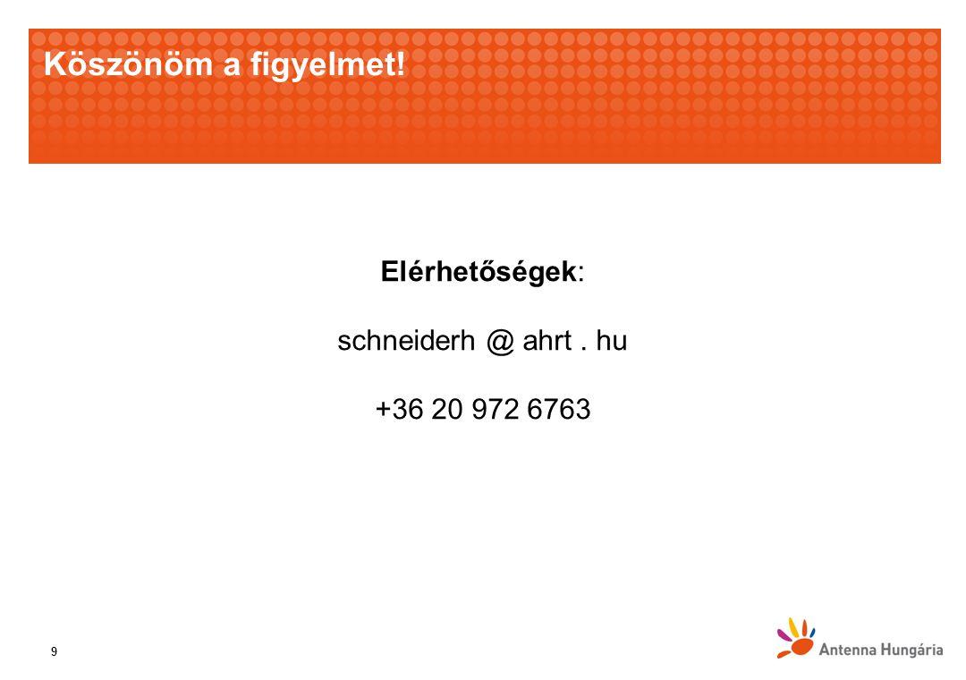 Köszönöm a figyelmet! 9 Elérhetőségek: schneiderh @ ahrt. hu +36 20 972 6763