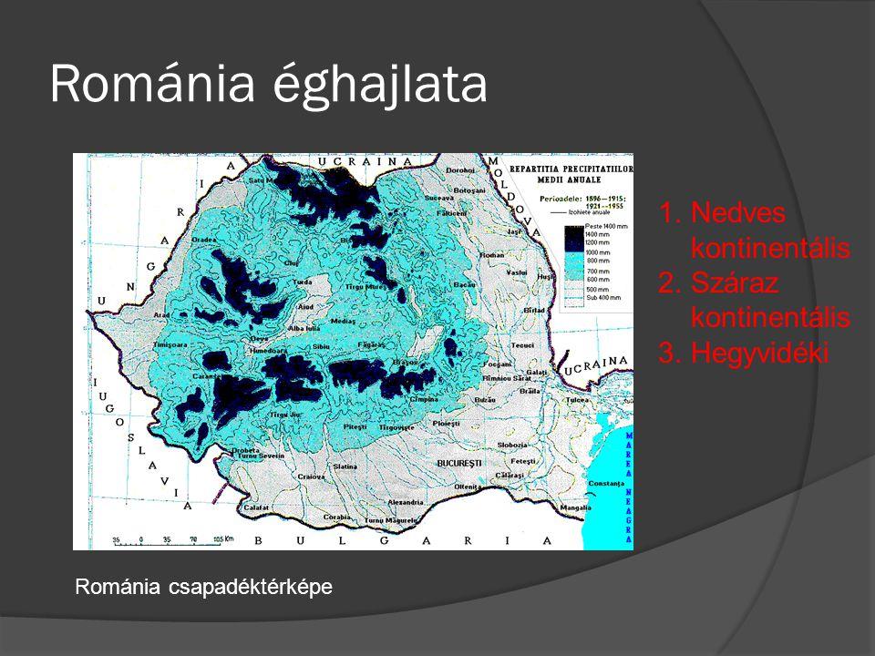 Románia éghajlata 1.Nedves kontinentális 2.Száraz kontinentális 3.Hegyvidéki Románia csapadéktérképe