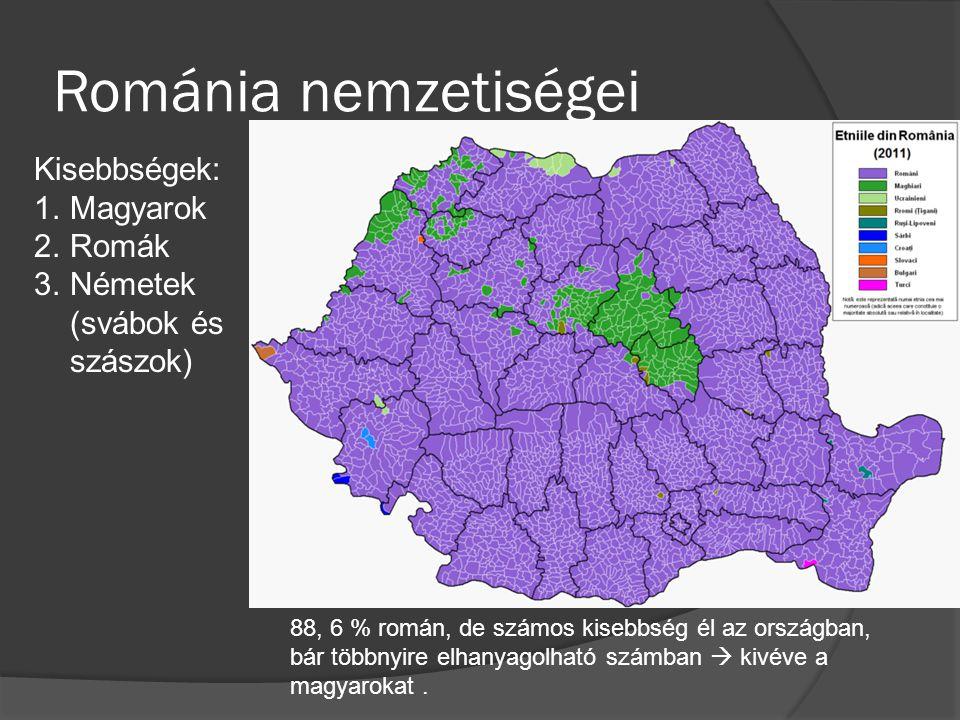 Románia nemzetiségei Kisebbségek: 1.Magyarok 2.Romák 3.Németek (svábok és szászok) 88, 6 % román, de számos kisebbség él az országban, bár többnyire e