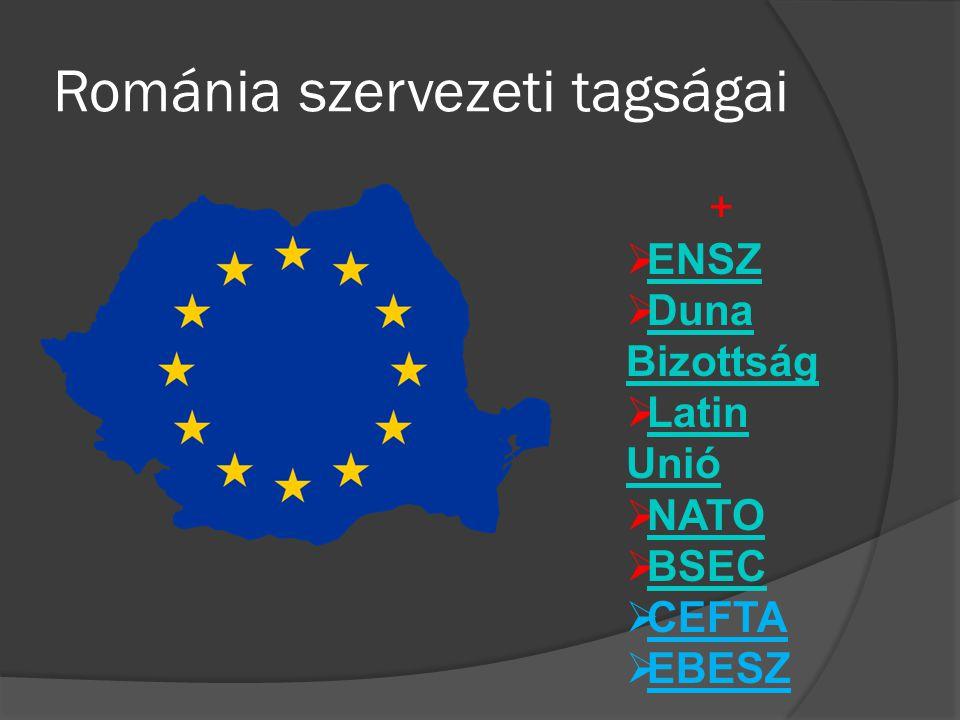 Románia szervezeti tagságai +  ENSZ ENSZ  Duna Bizottság Duna Bizottság  Latin Unió Latin Unió  NATO NATO  BSEC BSEC  CEFTA  EBESZ