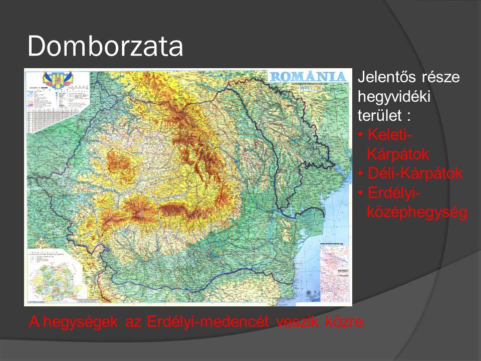 Domborzata Jelentős része hegyvidéki terület : Keleti- Kárpátok Déli-Kárpátok Erdélyi- középhegység A hegységek az Erdélyi-medencét veszik közre.
