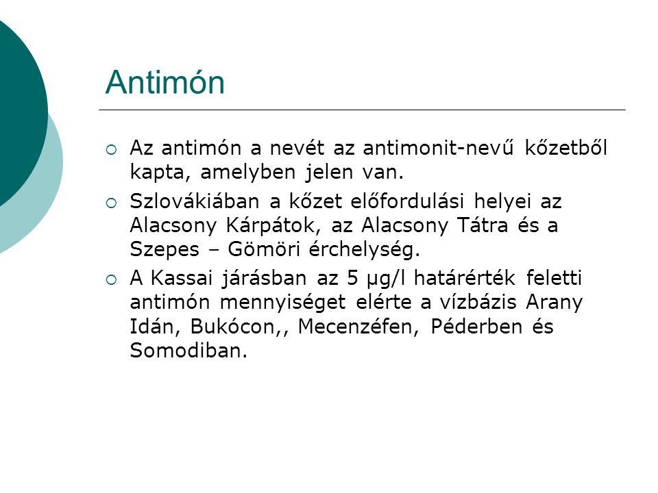 Antimón  Az antimón a nevét az antimonit-nevű kőzetből kapta, amelyben jelen van.