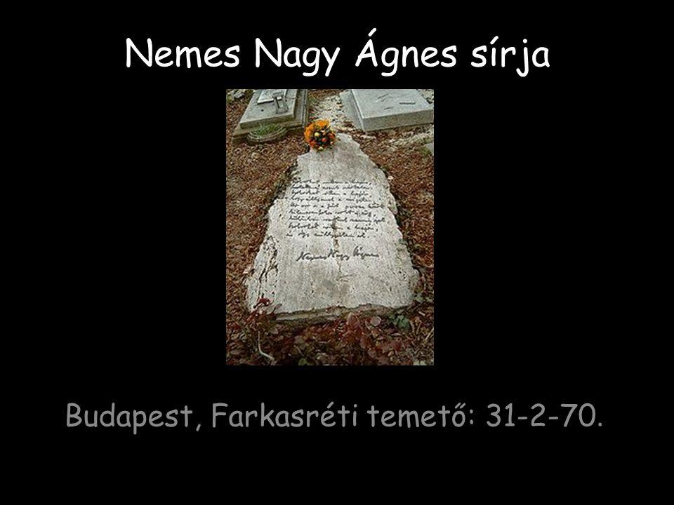 Nemes Nagy Ágnes sírja Budapest, Farkasréti temető: 31-2-70.
