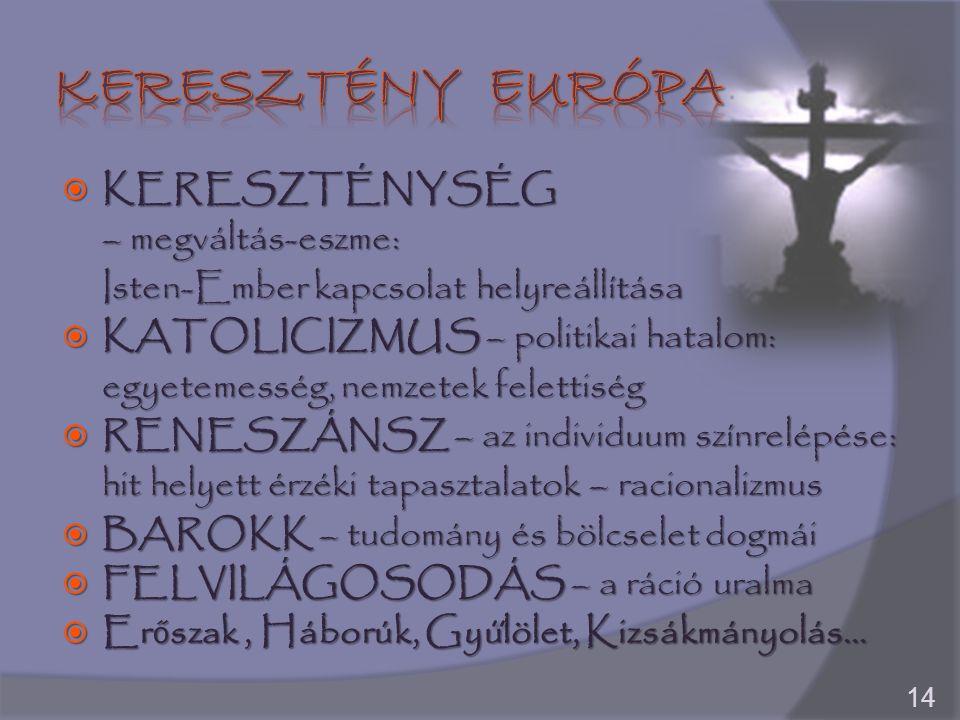  KERESZTÉNYSÉG – megváltás-eszme: Isten-Ember kapcsolat helyreállítása  KATOLICIZMUS – politikai hatalom: egyetemesség, nemzetek felettiség  RENESZ