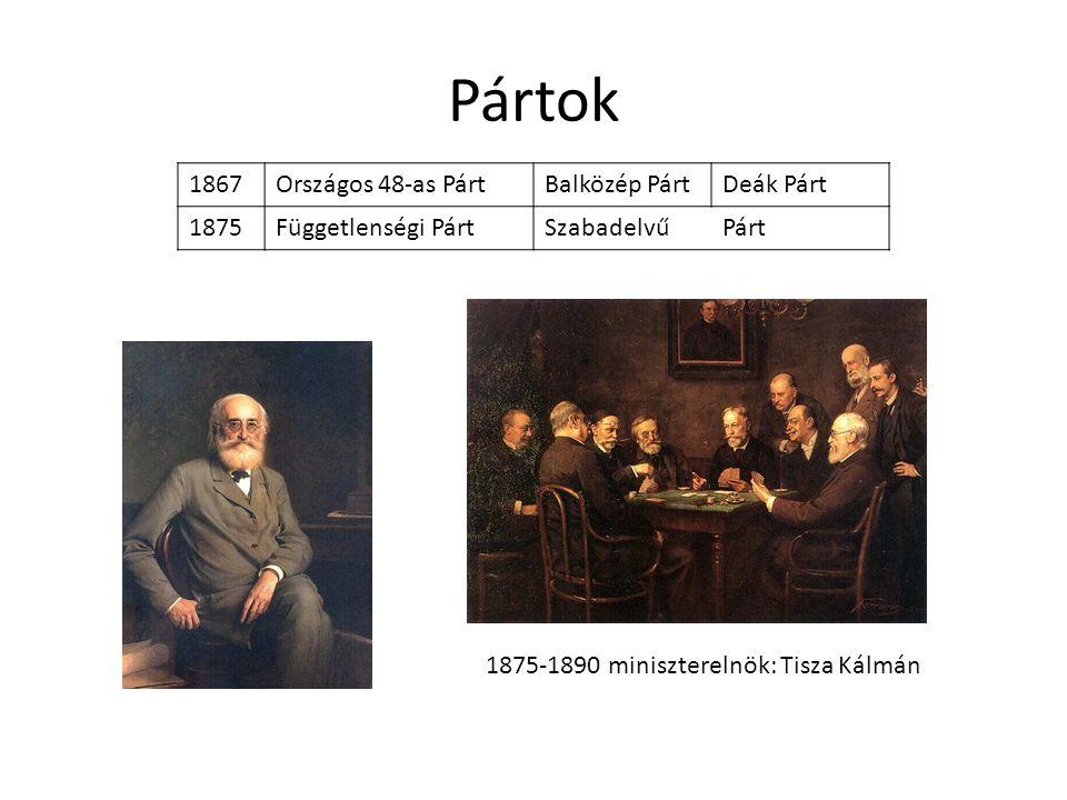 Pártok 1867Országos 48-as PártBalközép PártDeák Párt 1875Függetlenségi PártSzabadelvűPárt 1875-1890 miniszterelnök: Tisza Kálmán