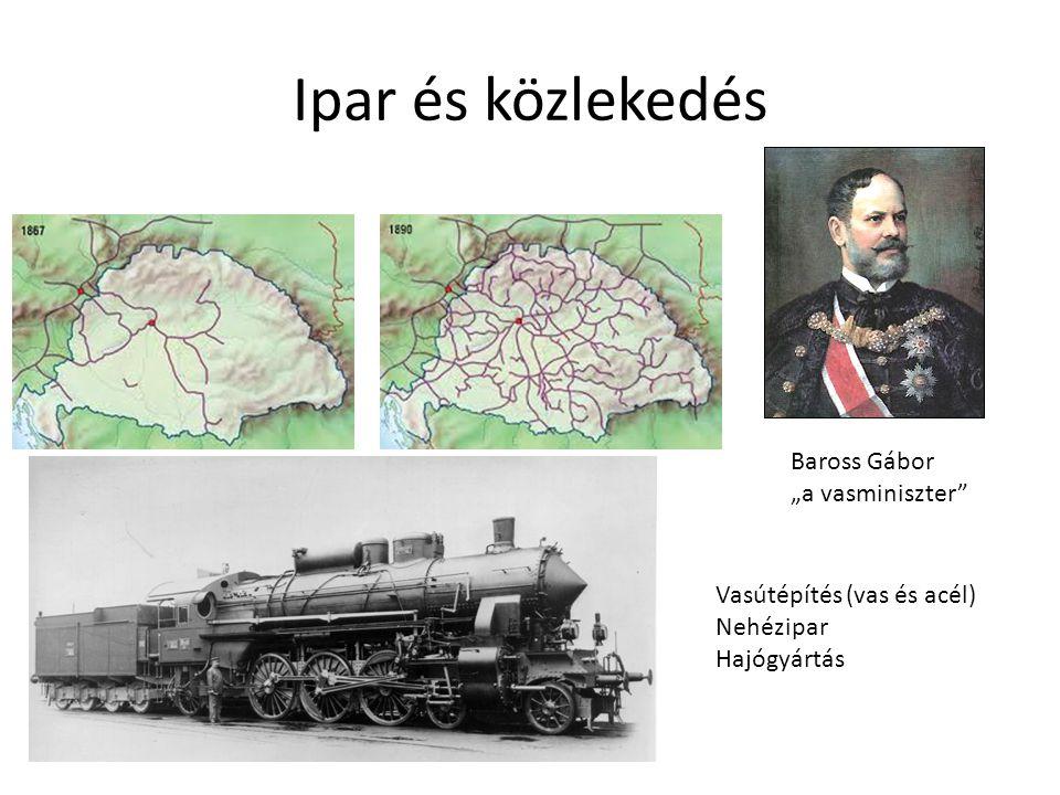 """Ipar és közlekedés Vasútépítés (vas és acél) Nehézipar Hajógyártás Baross Gábor """"a vasminiszter"""