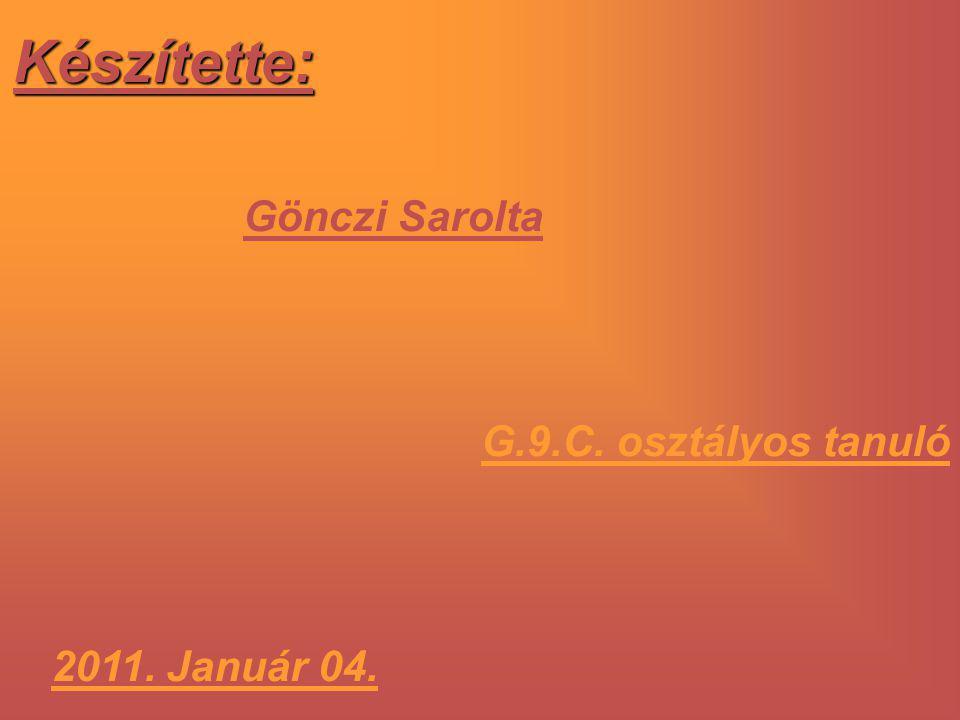 Készítette: Gönczi Sarolta G.9.C. osztályos tanuló 2011. Január 04.