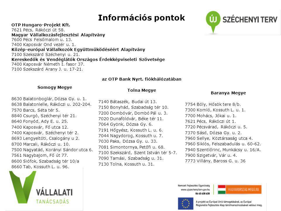 Információs pontok OTP Hungaro-Projekt Kft. 7621 Pécs, Rákóczi út 58. Magyar Vállalkozásfejlesztési Alapítvány 7600 Pécs Felsőmalom u. 13. 7400 Kaposv