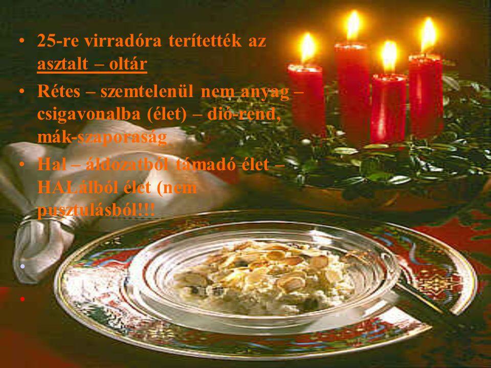 25-re virradóra terítették az asztalt – oltár Rétes – szemtelenül nem anyag – csigavonalba (élet) – dió-rend, mák-szaporaság Hal – áldozatból támadó é