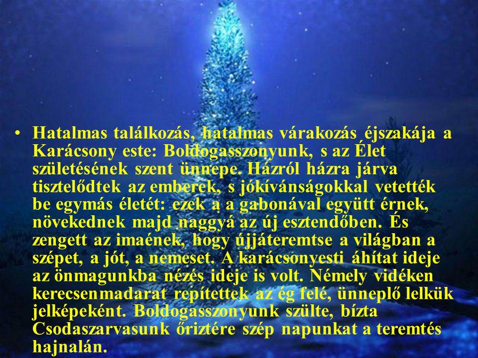 Hatalmas találkozás, hatalmas várakozás éjszakája a Karácsony este: Boldogasszonyunk, s az Élet születésének szent ünnepe. Házról házra járva tisztelő