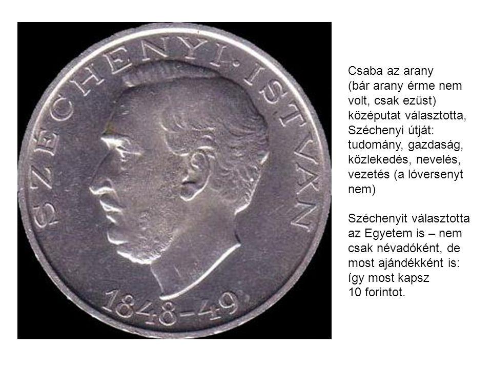 Csaba az arany (bár arany érme nem volt, csak ezüst) középutat választotta, Széchenyi útját: tudomány, gazdaság, közlekedés, nevelés, vezetés (a lóversenyt nem) Széchenyit választotta az Egyetem is – nem csak névadóként, de most ajándékként is: így most kapsz 10 forintot.
