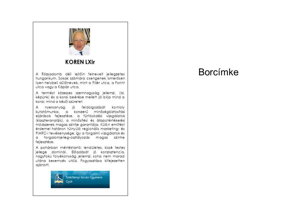 Borcímke KOREN LXir A Rózsadomb déli lejtőin felnevelt jellegzetes hungarikum.