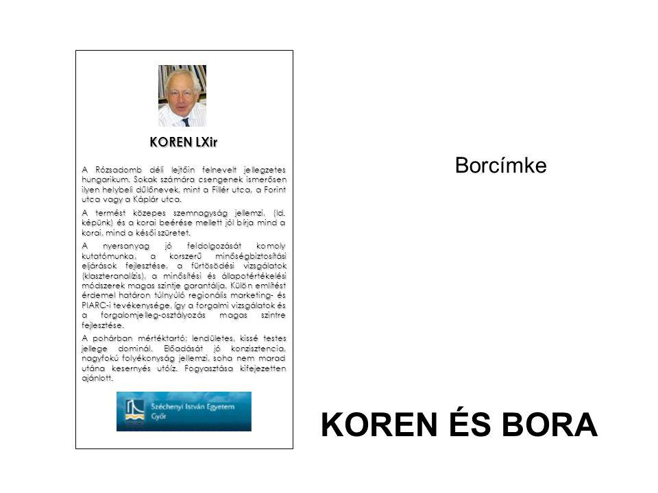 Borcímke KOREN LXir A Rózsadomb déli lejtőin felnevelt jellegzetes hungarikum. Sokak számára csengenek ismerősen ilyen helybeli dűlőnevek, mint a Fill
