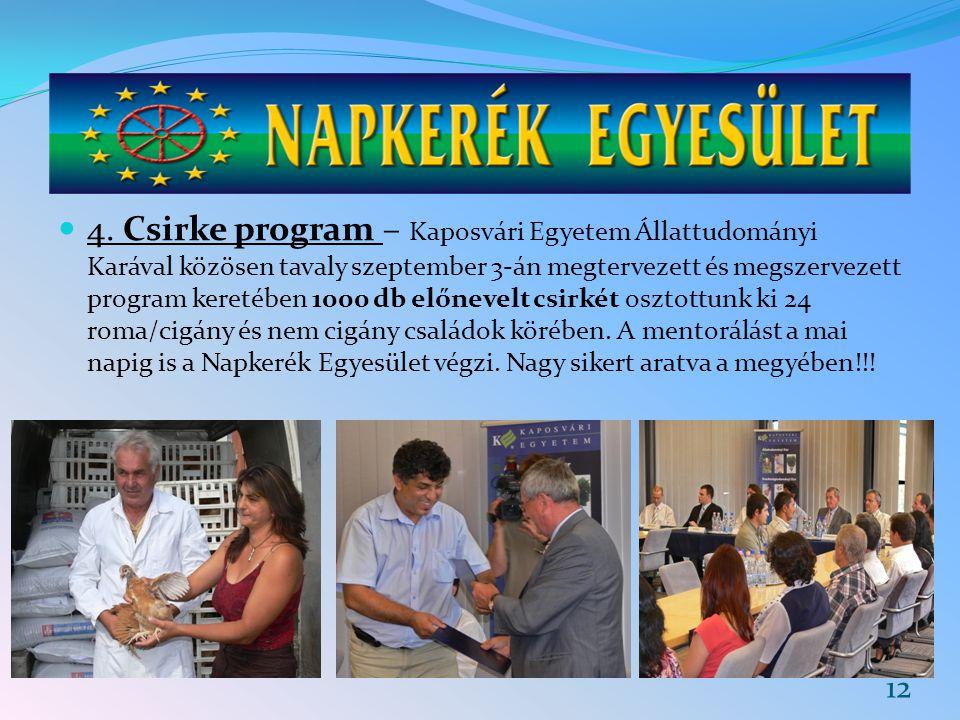 4. Csirke program – Kaposvári Egyetem Állattudományi Karával közösen tavaly szeptember 3-án megtervezett és megszervezett program keretében 1000 db el