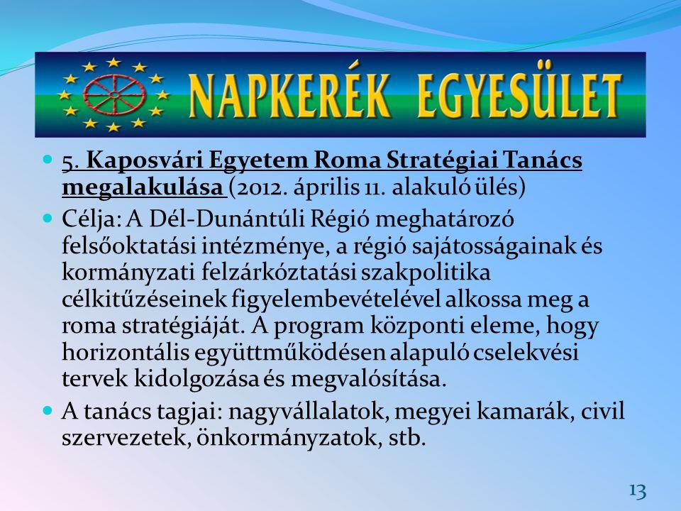 5. Kaposvári Egyetem Roma Stratégiai Tanács megalakulása (2012. április 11. alakuló ülés) Célja: A Dél-Dunántúli Régió meghatározó felsőoktatási intéz