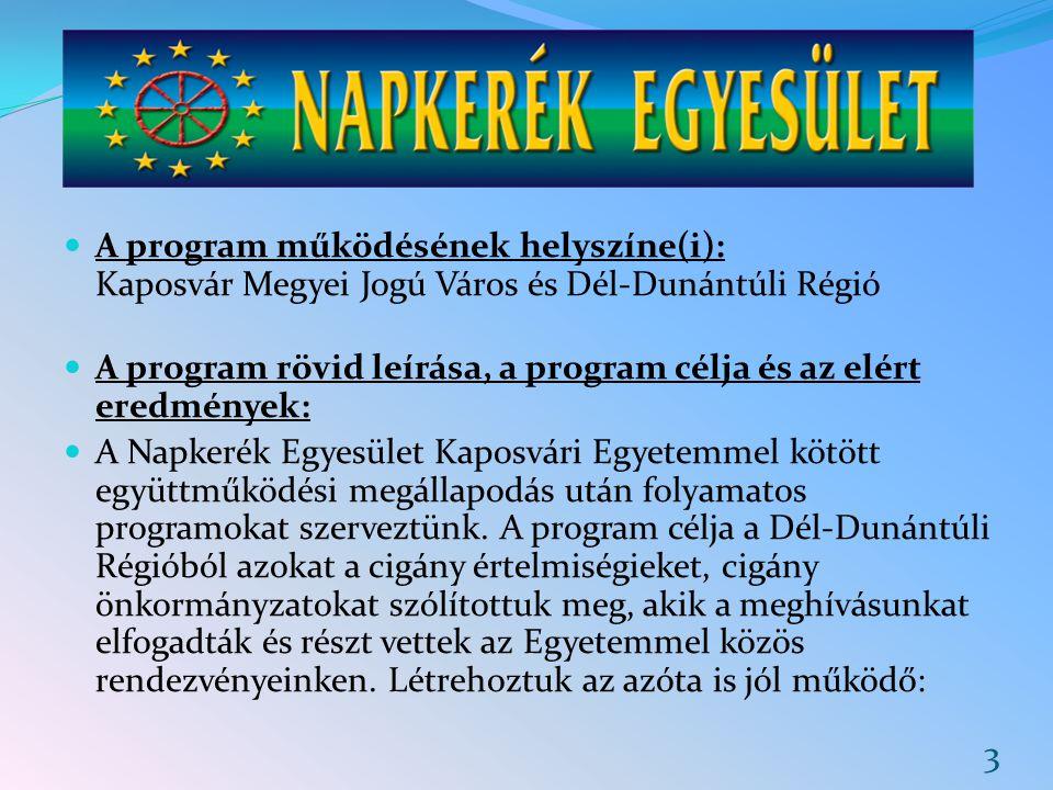 A program működésének helyszíne(i): Kaposvár Megyei Jogú Város és Dél-Dunántúli Régió A program rövid leírása, a program célja és az elért eredmények: