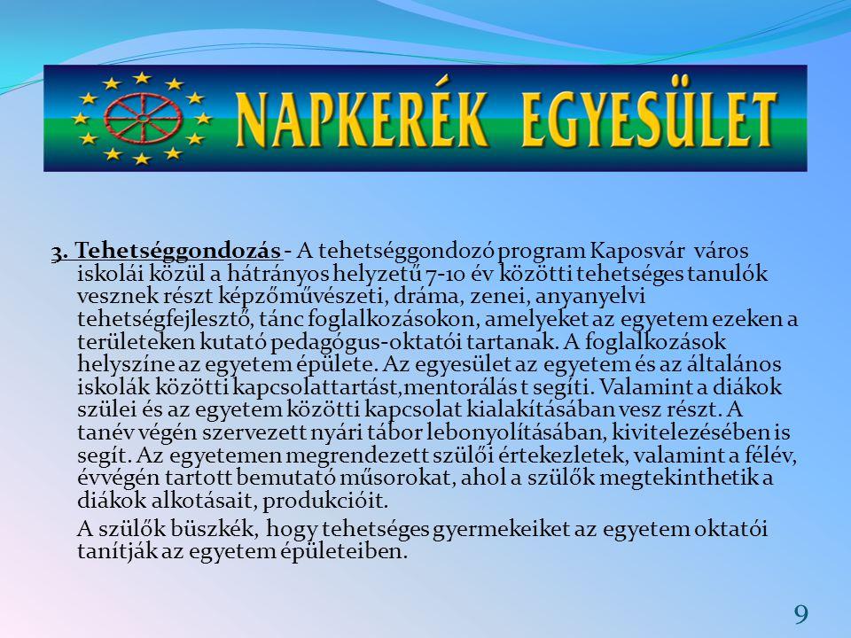 3. Tehetséggondozás - A tehetséggondozó program Kaposvár város iskolái közül a hátrányos helyzetű 7-10 év közötti tehetséges tanulók vesznek részt kép