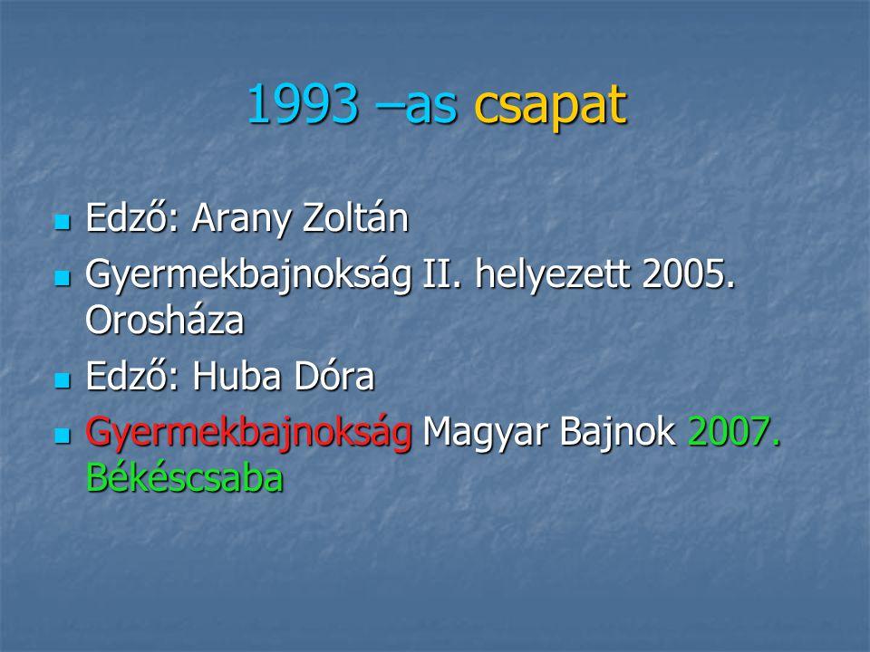 1992 – es csapat Edző: Huba Dóra Edző: Huba Dóra Gyermekbajnokság Magyar Bajnok 2006. Siklós Gyermekbajnokság Magyar Bajnok 2006. Siklós Gyermekbajnok