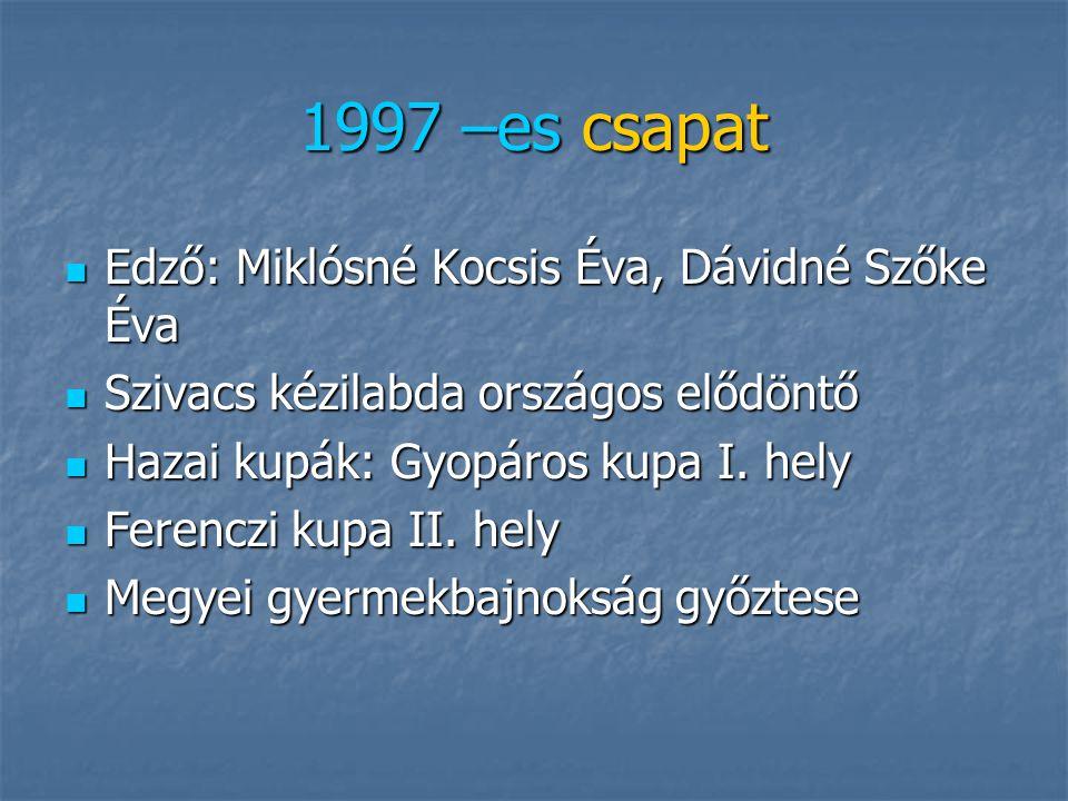 1996 –os csapat Edző: Savanya Ferenc Edző: Savanya Ferenc Gyermekbajnokság II. helyezett 2007. Szekszárd Gyermekbajnokság II. helyezett 2007. Szekszár