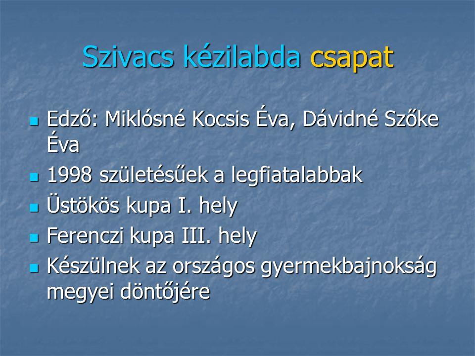 1997 –es csapat Edző: Miklósné Kocsis Éva, Dávidné Szőke Éva Edző: Miklósné Kocsis Éva, Dávidné Szőke Éva Szivacs kézilabda országos elődöntő Szivacs