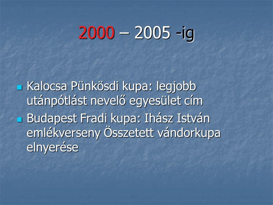 2000 – 2005 -ig Edző: Szekeresné Bíró Ilona Edző: Szekeresné Bíró Ilona 1990 korosztály gyermekbajnokság IV. hely 2002 Orosháza 1990 korosztály gyerme