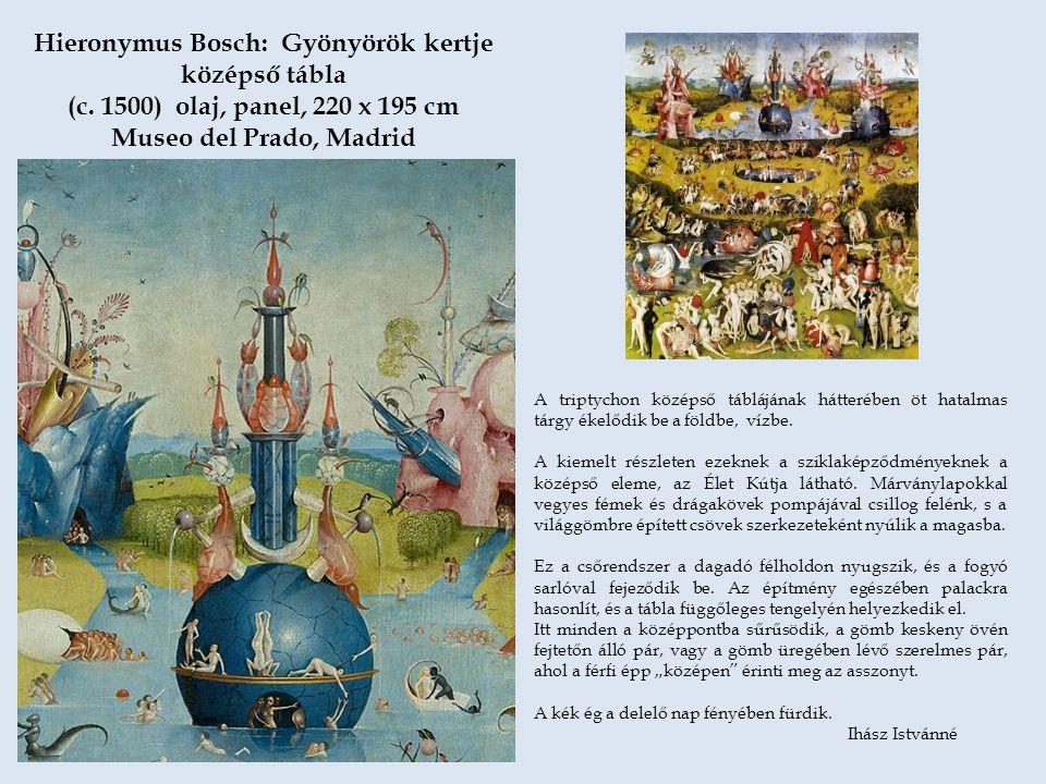 A triptychon középső táblájának hátterében öt hatalmas tárgy ékelődik be a földbe, vízbe. A kiemelt részleten ezeknek a sziklaképződményeknek a középs