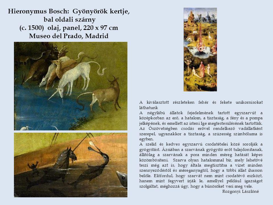 A kiválasztott részleteken fehér és fekete unikornisokat láthatunk A négylábú állatok fejedelmének tartott egyszarvút a középkorban az erő, a hatalom,