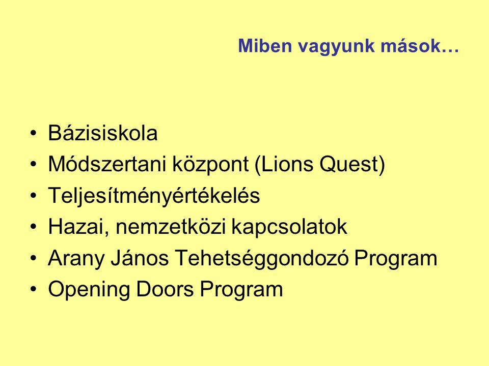 Miben vagyunk mások… Bázisiskola Módszertani központ (Lions Quest) Teljesítményértékelés Hazai, nemzetközi kapcsolatok Arany János Tehetséggondozó Pro