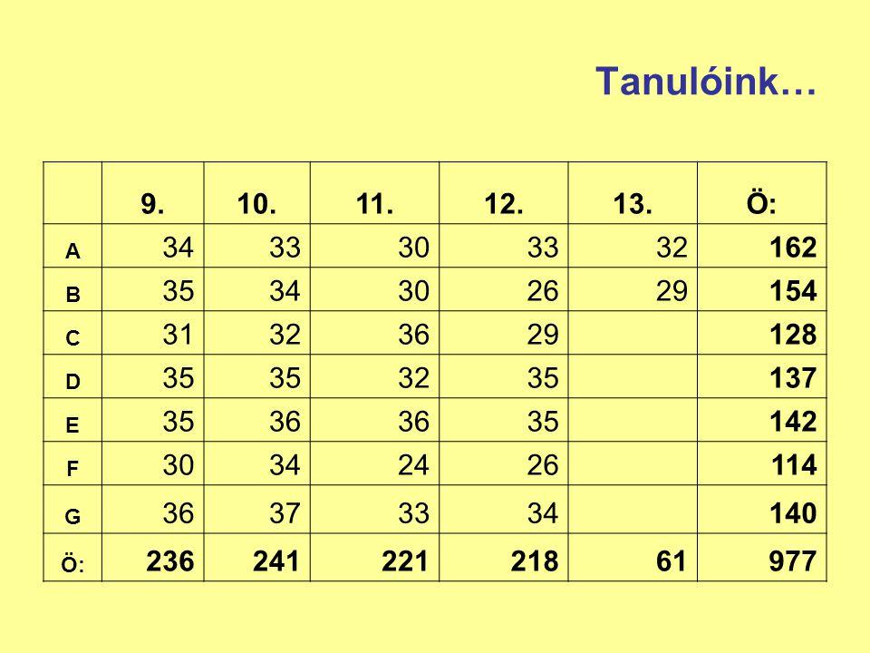 Nyelvvizsgák (2007/2008) KözépfokúFelsőfokú A típusB típusC típusA típusB típusC típus angol 9180407 német 3140104 francia --4--- olasz ----1- orosz --1--- Összesen 1221255111 13917