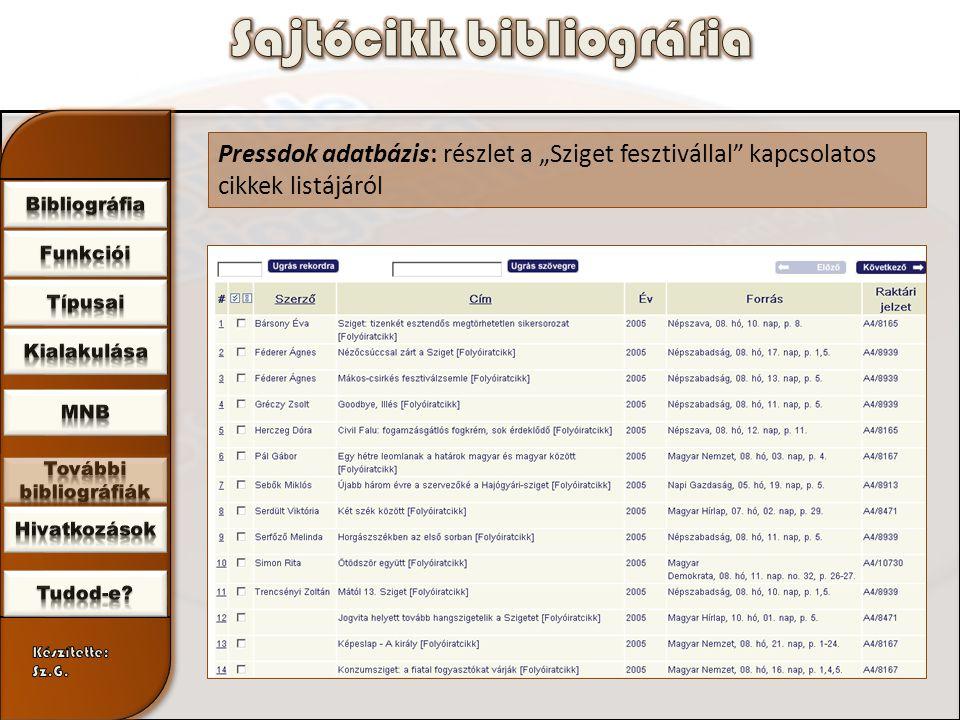 """Pressdok adatbázis: részlet a """"Sziget fesztivállal kapcsolatos cikkek listájáról"""