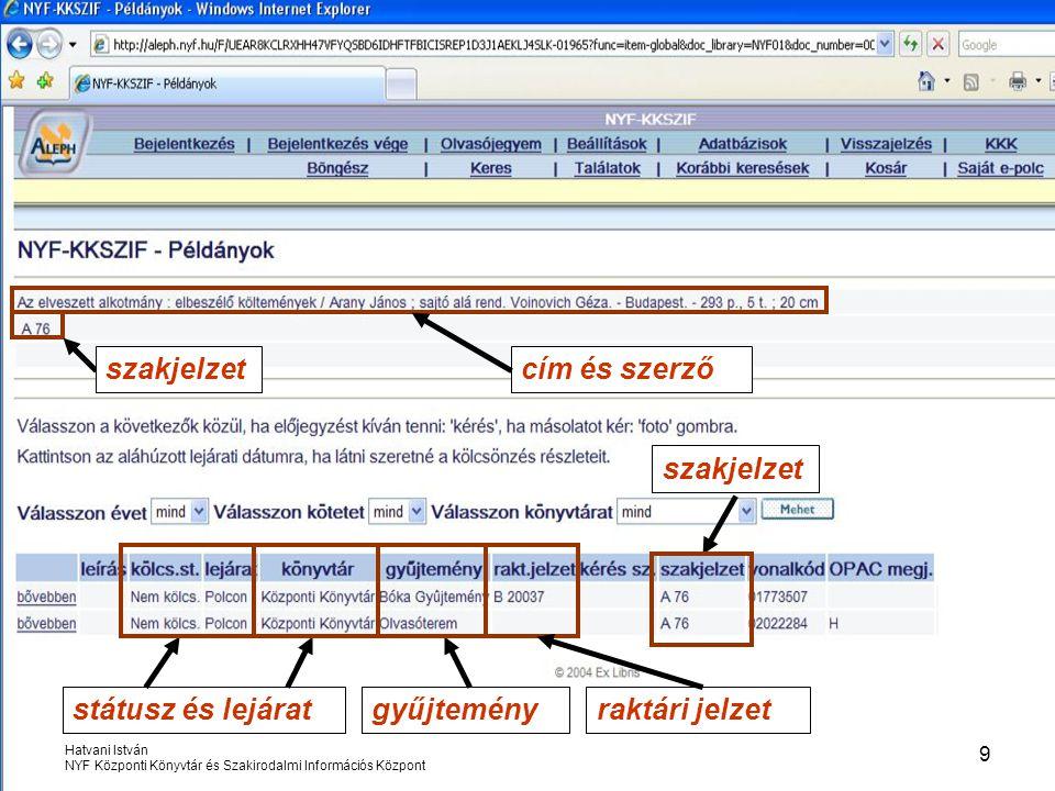 Hatvani István NYF Központi Könyvtár és Szakirodalmi Információs Központ 20