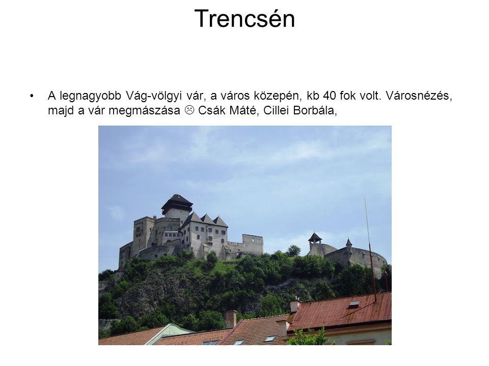 Trencsén A legnagyobb Vág-völgyi vár, a város közepén, kb 40 fok volt. Városnézés, majd a vár megmászása  Csák Máté, Cillei Borbála,