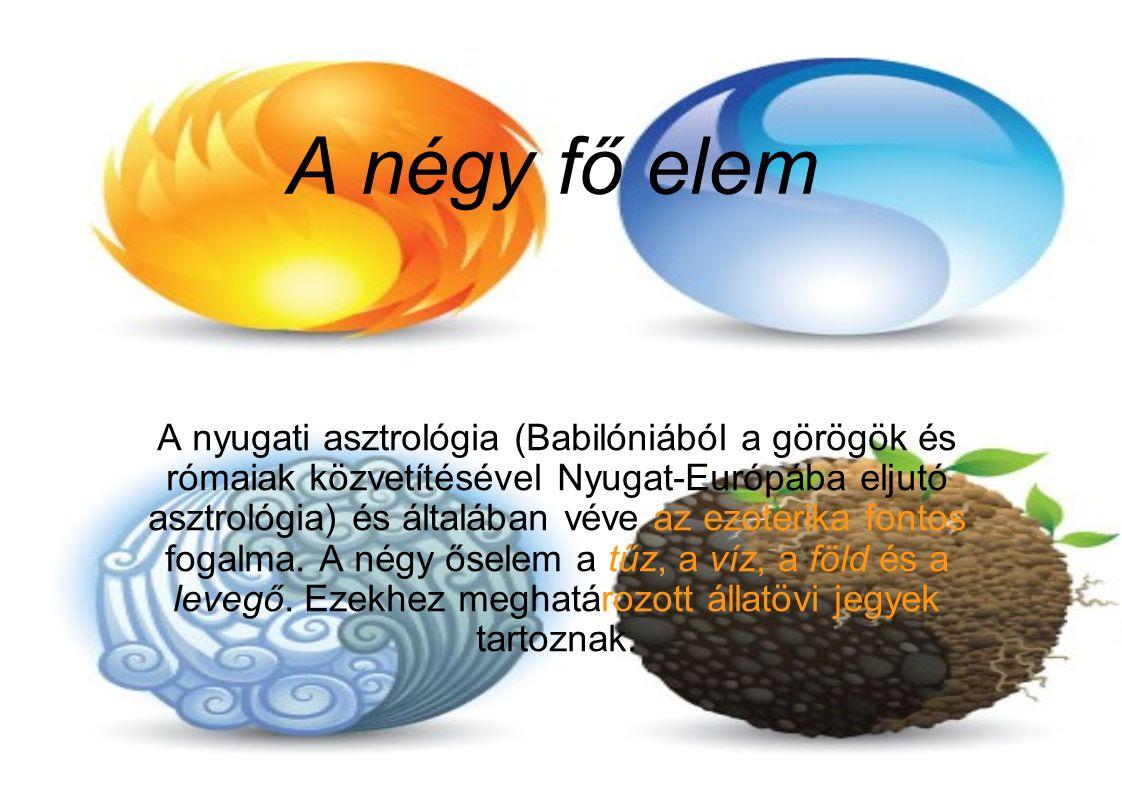 A négy fő elem víz levegő föld tűz
