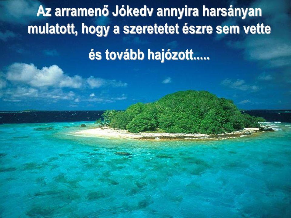 Az arramenő Jókedv annyira harsányan mulatott, hogy a szeretetet észre sem vette és tovább hajózott.....