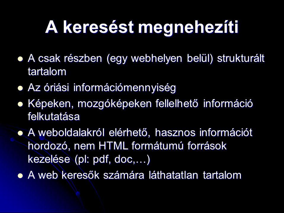 A keresést megnehezíti A csak részben (egy webhelyen belül) strukturált tartalom A csak részben (egy webhelyen belül) strukturált tartalom Az óriási i