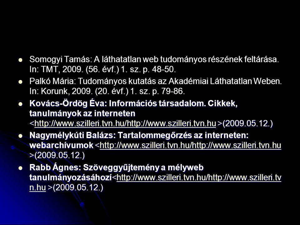 Somogyi Tamás: A láthatatlan web tudományos részének feltárása. In: TMT, 2009. (56. évf.) 1. sz. p. 48-50. Palkó Mária: Tudományos kutatás az Akadémia