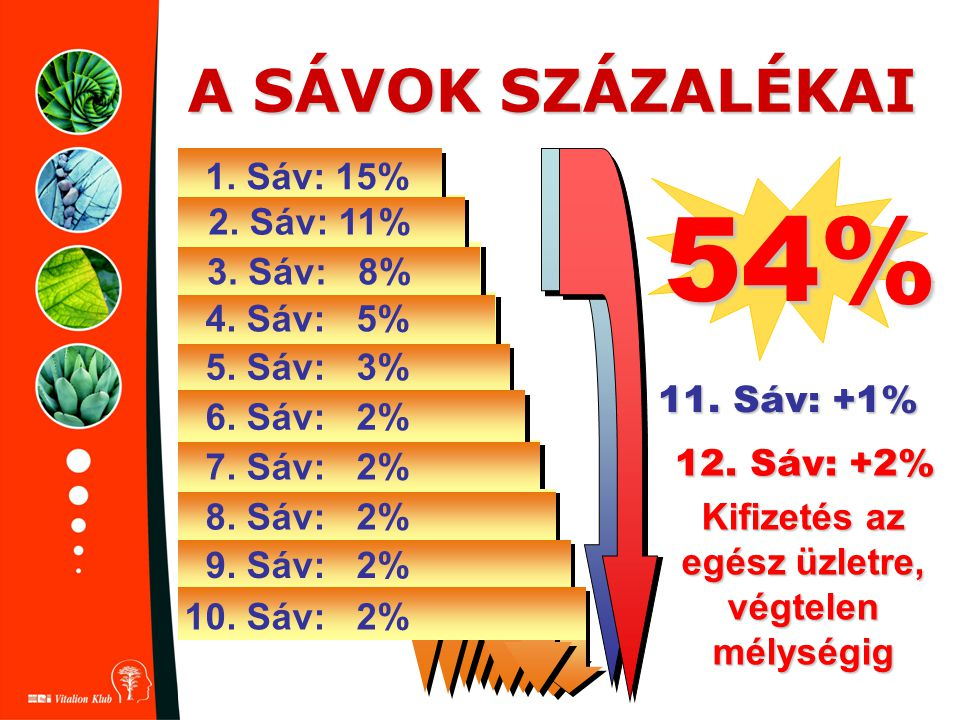 A SÁVOK SZÁZALÉKAI 11. Sáv: +1% 54% 1. Sáv: 15% 2. Sáv: 11% 3. Sáv: 8% 4. Sáv: 5% 5. Sáv: 3% 6. Sáv: 2% 7. Sáv: 2% 8. Sáv: 2% 9. Sáv: 2% 10. Sáv: 2% 1