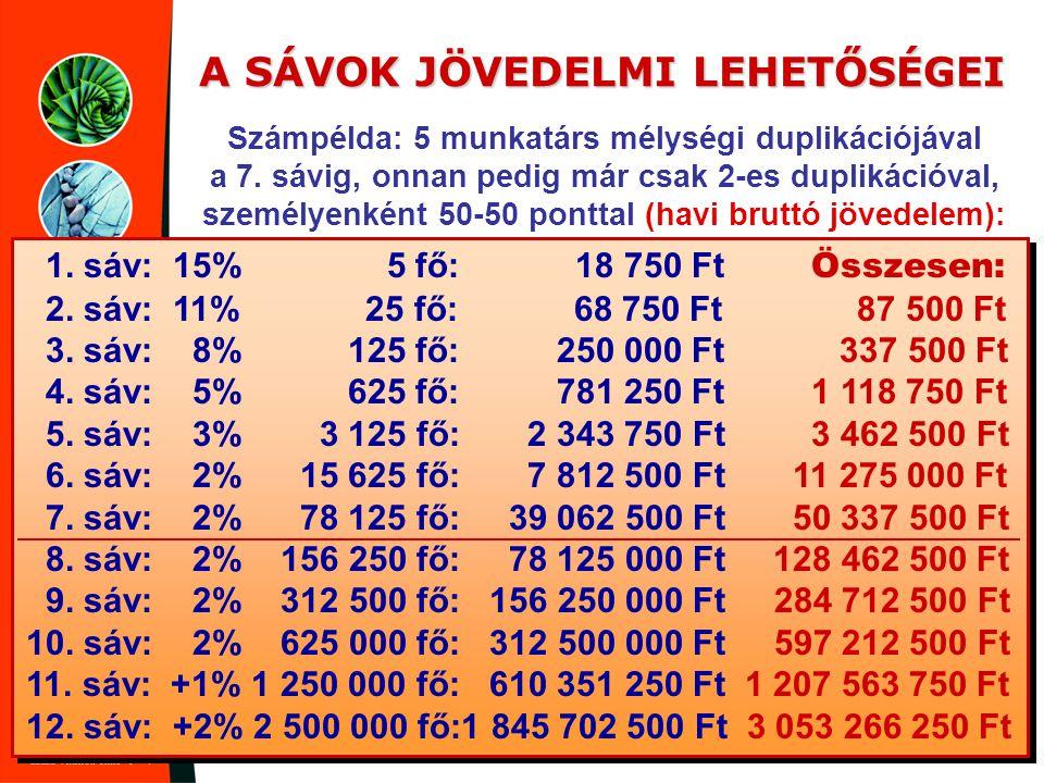 A SÁVOK JÖVEDELMI LEHETŐSÉGEI Számpélda: 5 munkatárs mélységi duplikációjával a 7. sávig, onnan pedig már csak 2-es duplikációval, személyenként 50-50