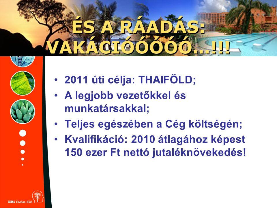 ÉS A RÁADÁS: VAKÁCIÓÓÓÓÓ…!!! 2011 úti célja: THAIFÖLD; A legjobb vezetőkkel és munkatársakkal; Teljes egészében a Cég költségén; Kvalifikáció: 2010 át
