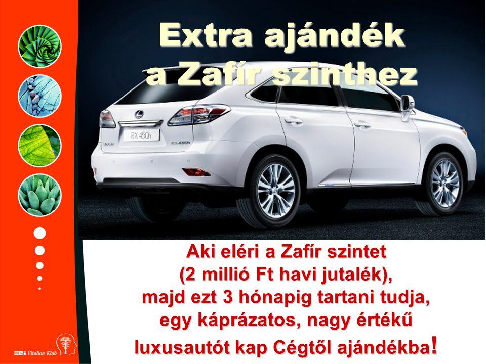 Extra ajándék a Zafír szinthez Aki eléri a Zafír szintet (2 millió Ft havi jutalék), majd ezt 3 hónapig tartani tudja, egy káprázatos, nagy értékű lux