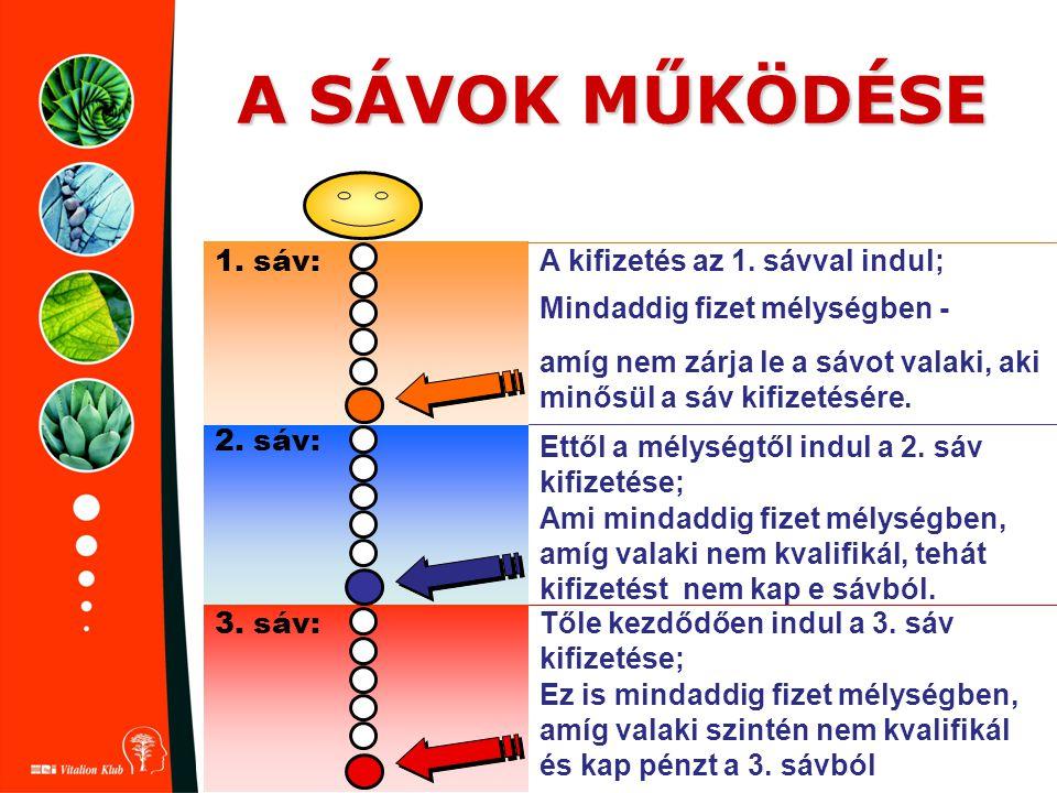 A SÁVOK MŰKÖDÉSE 1. sáv: 2. sáv: 3. sáv: A kifizetés az 1. sávval indul; Mindaddig fizet mélységben - amíg nem zárja le a sávot valaki, aki minősül a