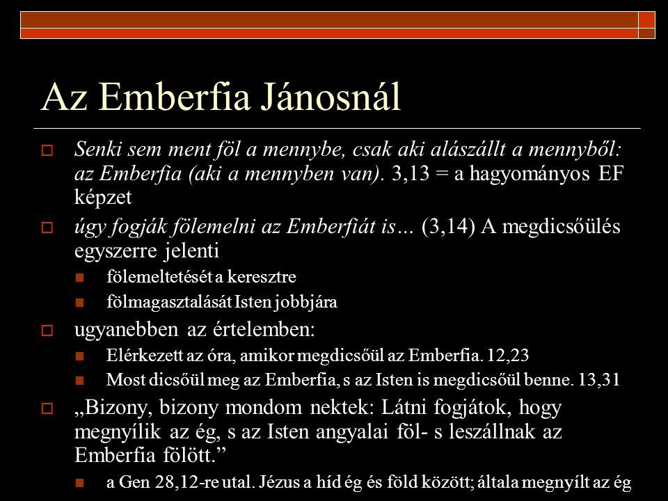 Az Emberfia Jánosnál  Senki sem ment föl a mennybe, csak aki alászállt a mennyből: az Emberfia (aki a mennyben van). 3,13 = a hagyományos EF képzet 