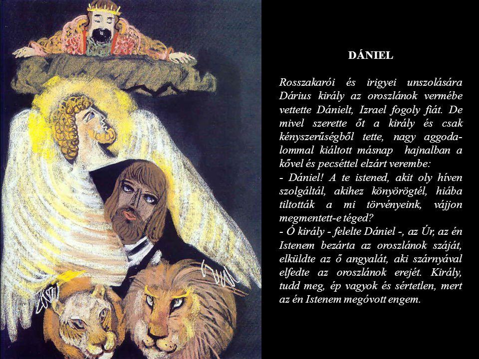 DÁNIEL Rosszakarói és irigyei unszolására Dárius király az oroszlánok vermébe vettette Dánielt, Izrael fogoly fiát. De mivel szerette őt a király és c