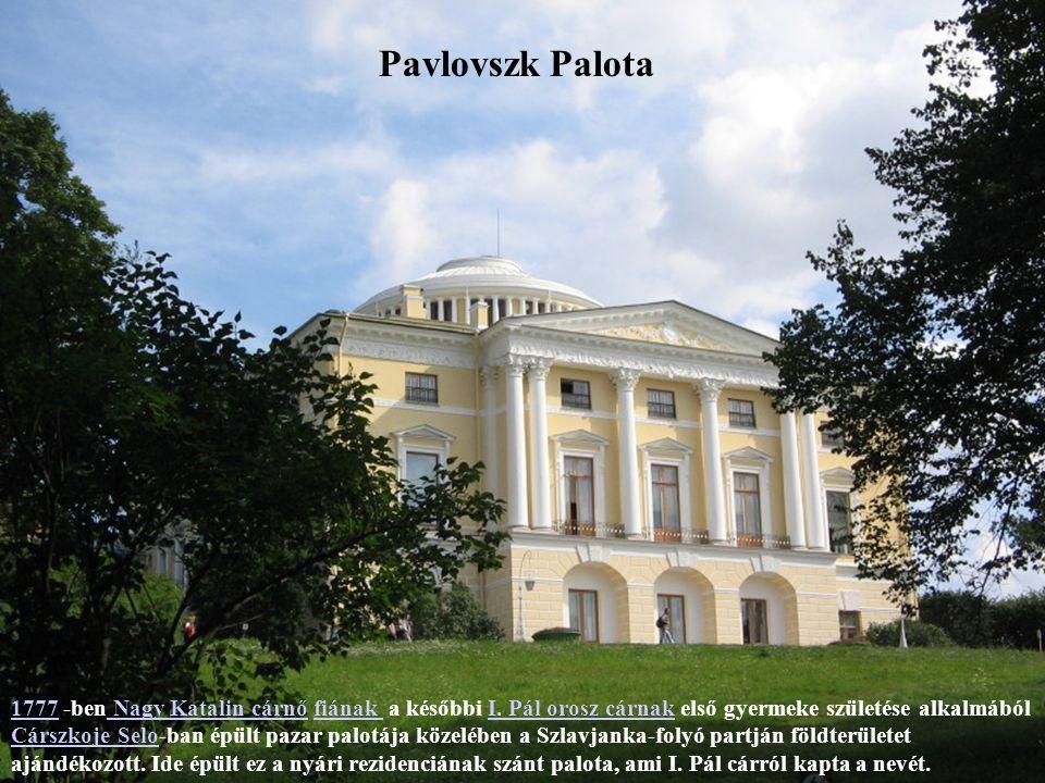 Sándor Palota Carszkoje Selo.-ban épült ez a palota, a cári család pihenőhelyének szánták.Carszkoje Selo Nagy KatalinNagy Katalin cárnő megbízásából épült kedvenc unokájának, a későbbi I.