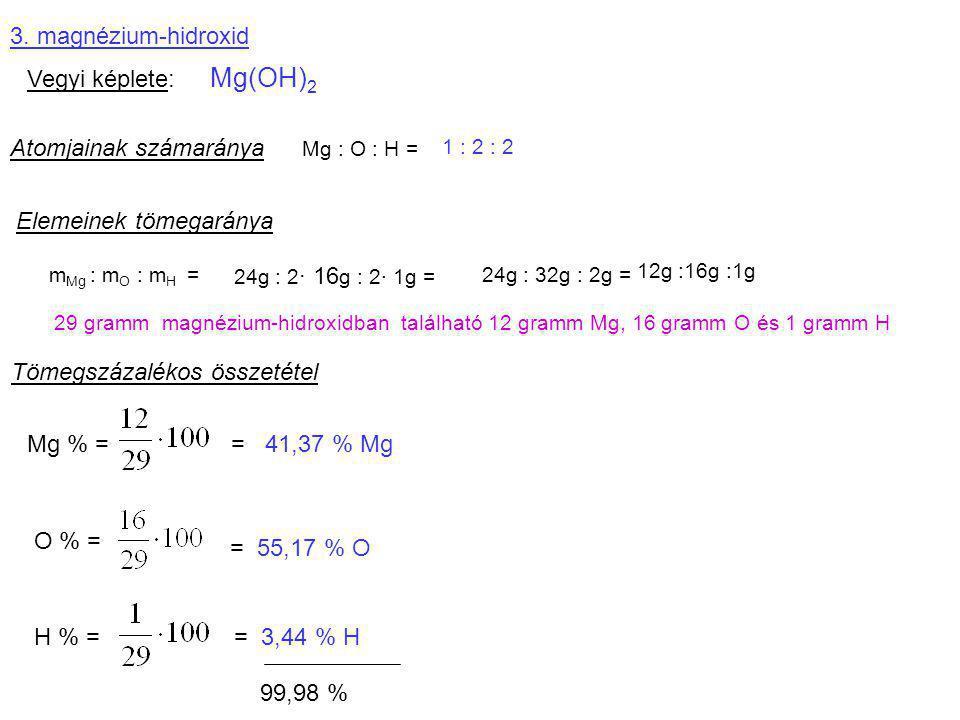 3. magnézium-hidroxid Vegyi képlete: Mg(OH) 2 Atomjainak számaránya Mg : O : H = 1 : 2 : 2 Elemeinek tömegaránya m Mg : m O : m H = 24g : 2 · 16 g : 2