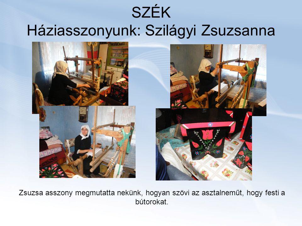 SZÉK Háziasszonyunk: Szilágyi Zsuzsanna Zsuzsa asszony megmutatta nekünk, hogyan szövi az asztalneműt, hogy festi a bútorokat.